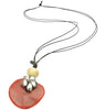 Coral bead pendant with silver flower