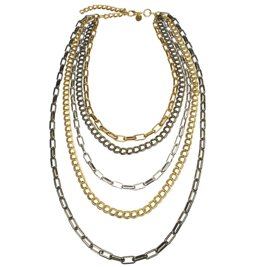 Five strand draped gold plated chain necklace