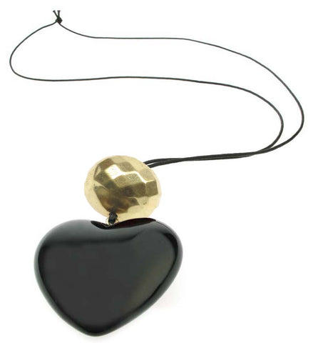 Black heart pendant with antique gold faceted bead.