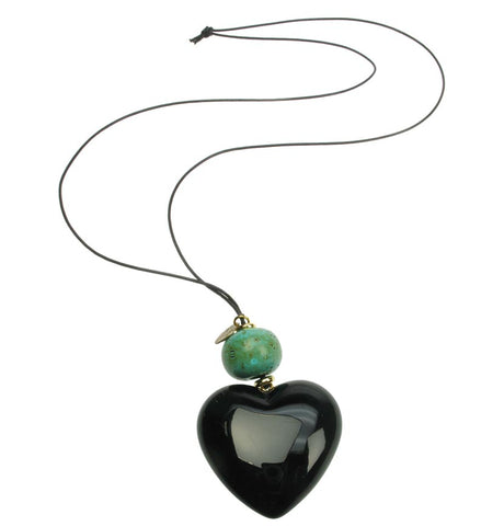 Black heart pendant with antique turquoise bead.