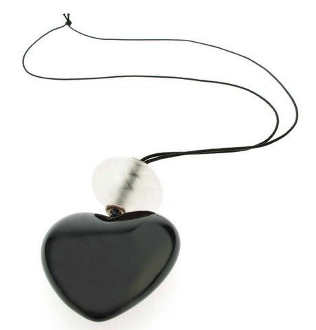 Black heart pendant with clear frost bead.