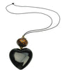 Black heart pendant with chocolate and black faceted bead.