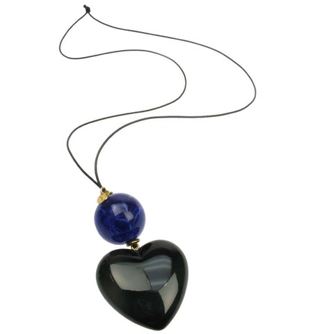 Black heart pendant with bright navy blue bead.