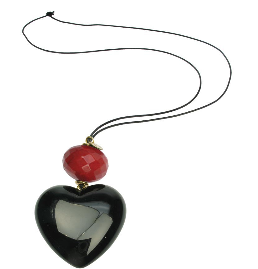 Black heart pendant with ruby red bead.