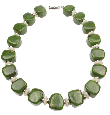 A green marbled cube necklace.