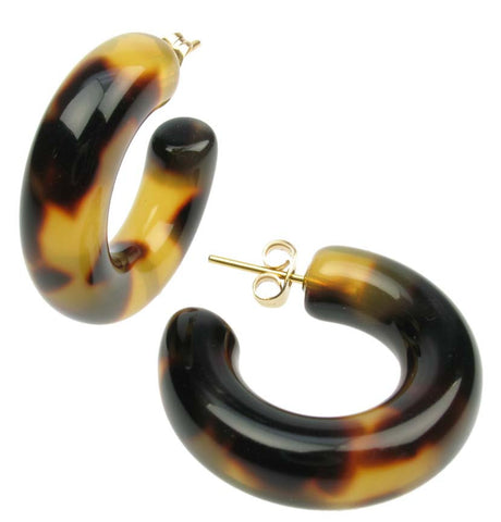 A perfect tortoise shell resin pierced hoop earring