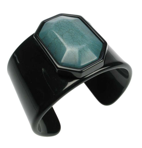 Jet cuff with teal centrepiece
