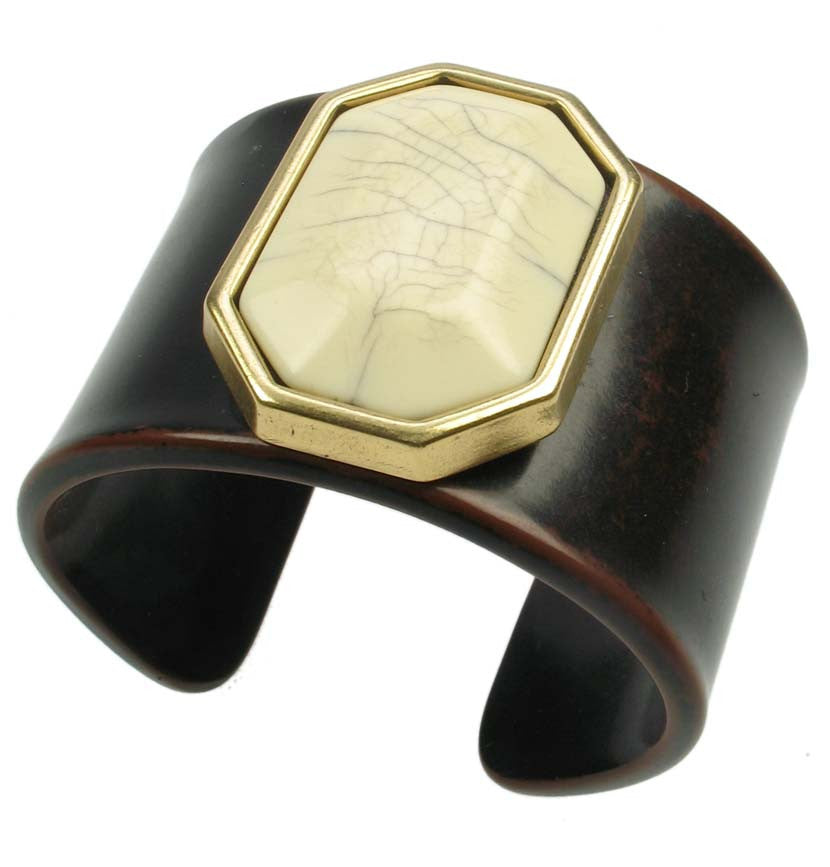Resin wood cuff with cracked ivory gem - Angie Gooderham Jewellery
