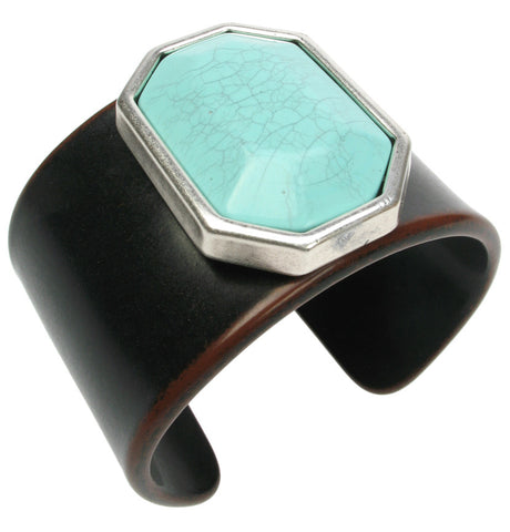 Resin wood cuff with turquoise gem