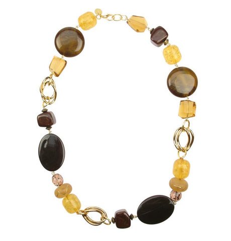 Amber Brown gold plated chain necklace