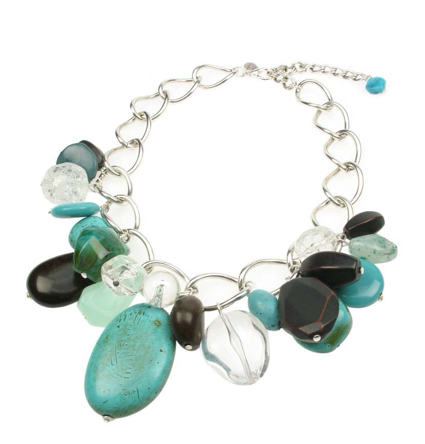 Cascading turquoise, crystal and wood resin bead necklace