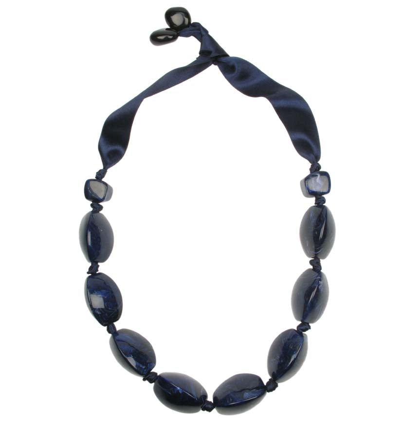 Dark Blue bead  knotted necklace