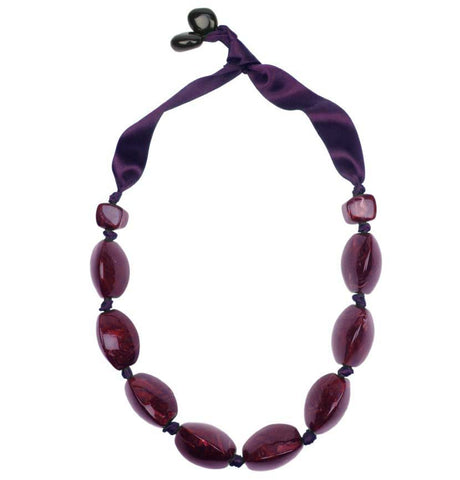 A dark Plum coloured knotted necklace