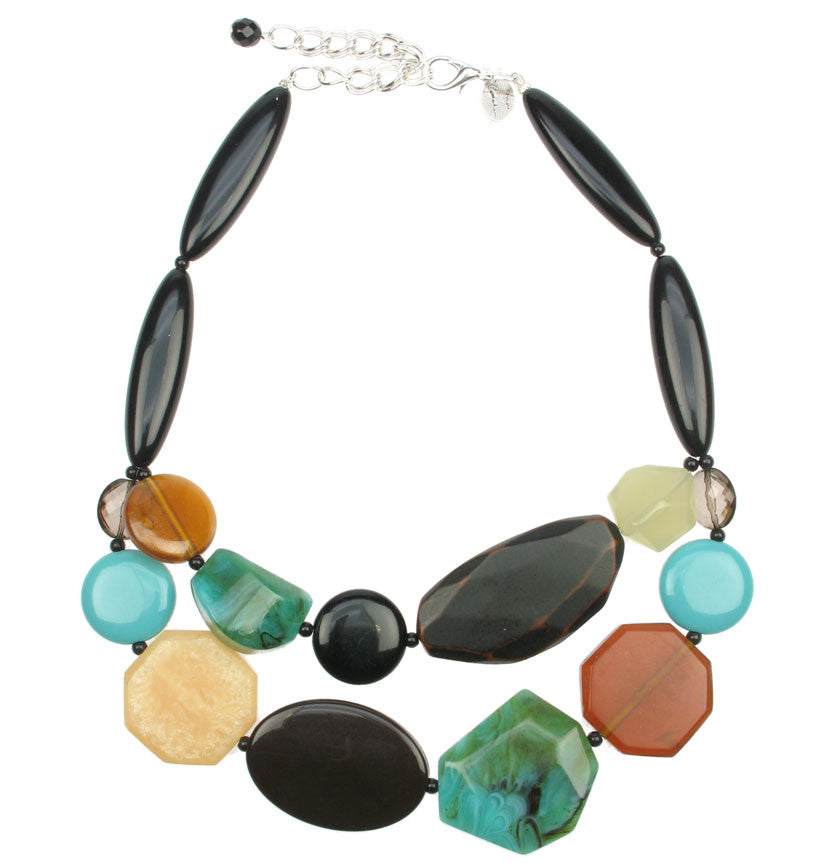 Double necklace with turquoise, wood and black beads