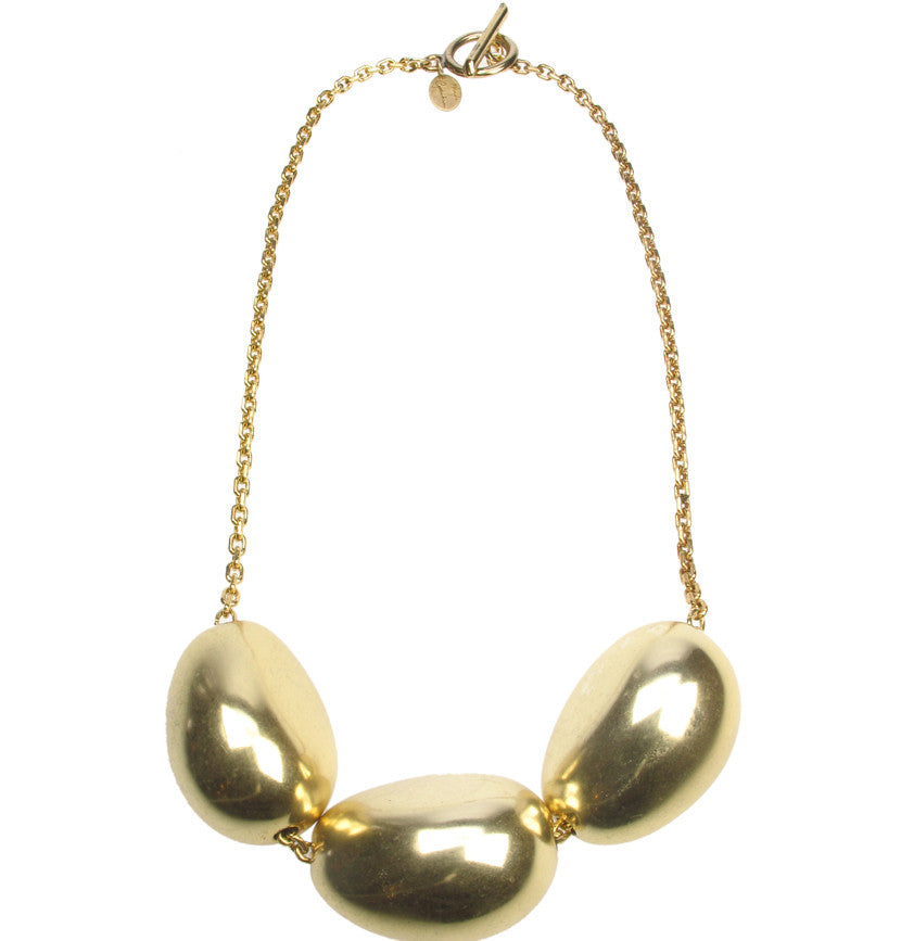 Antique gold three pebble necklace