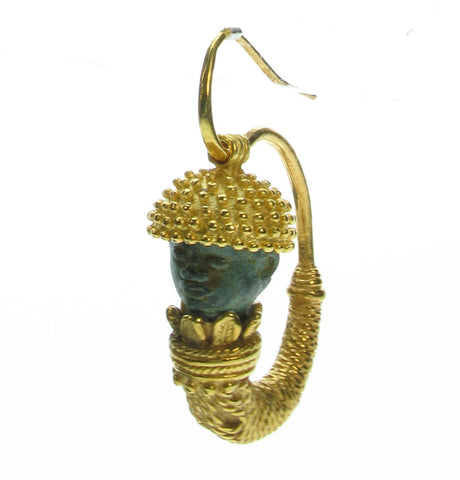 Etruscan style earring with Roman head