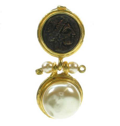 Roman coin and baroque glass pearl drop earring