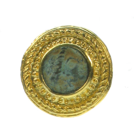 Patinated Green Roman coin clip on earring