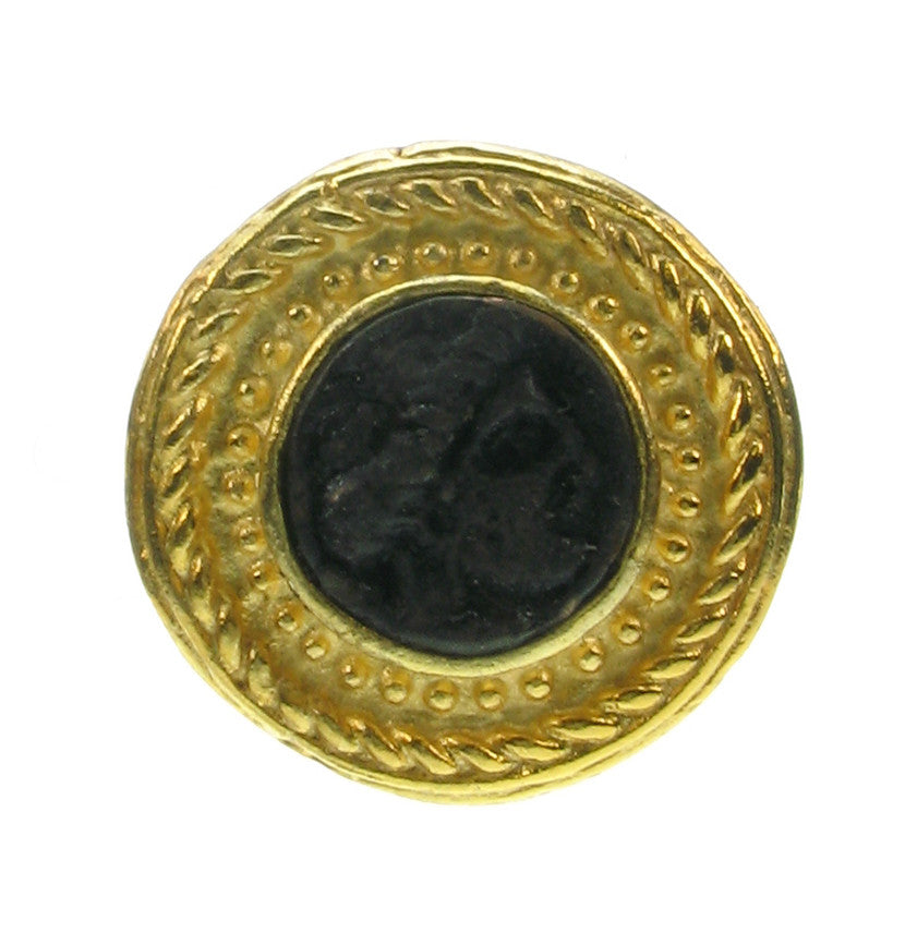 Patinated Black Roman coin clip on earring