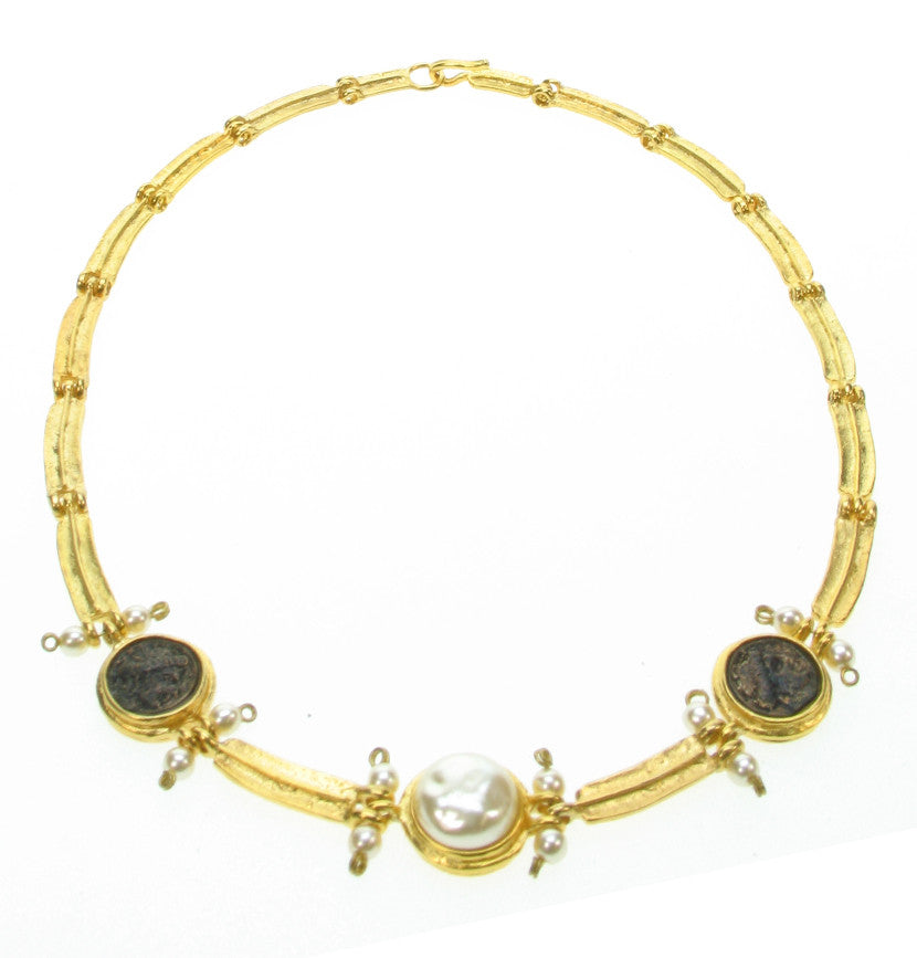 Etruscan style necklace with patinated black cast roman coins and japanese glass pearls