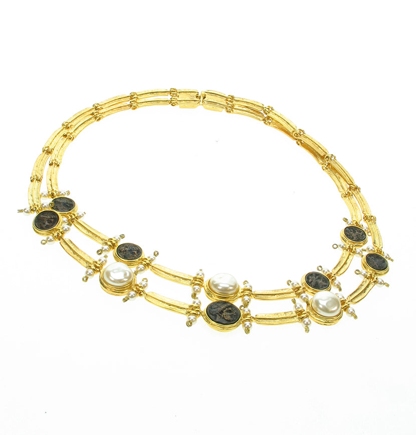 Double strand Etruscan style necklace with black coins.