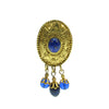 Blue and Gold plated french Vintage earring