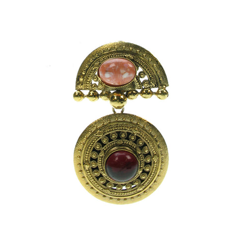 A Vintage French Earring antique gold and coral.