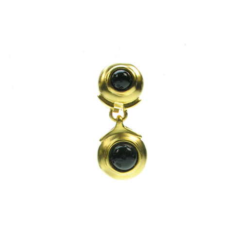 Clip drop earrings with black glass stones