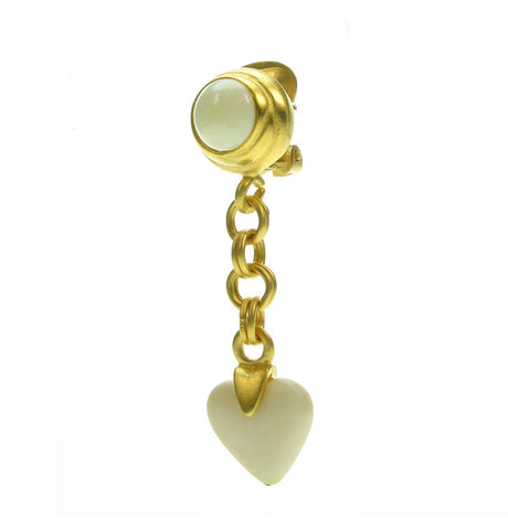 Ivory drop heart earrings on gold frost plated chain