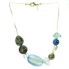 A subtle blend of blue, antique gold and cracked crystal bead necklace