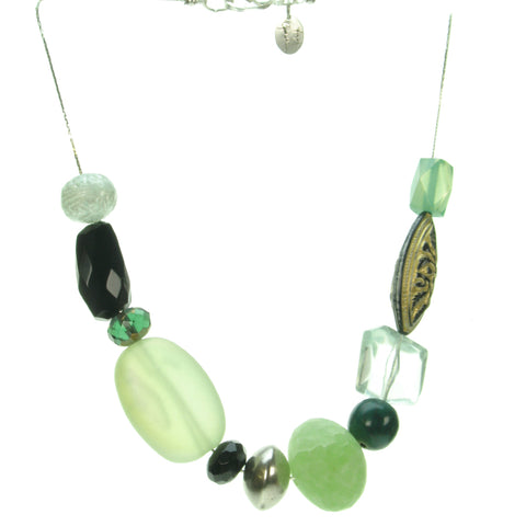 A subtle blend of green, antique silver and black bead necklace