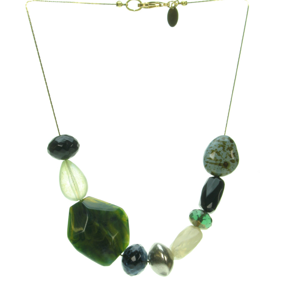 An organic blend of forest coloured resin bead necklace