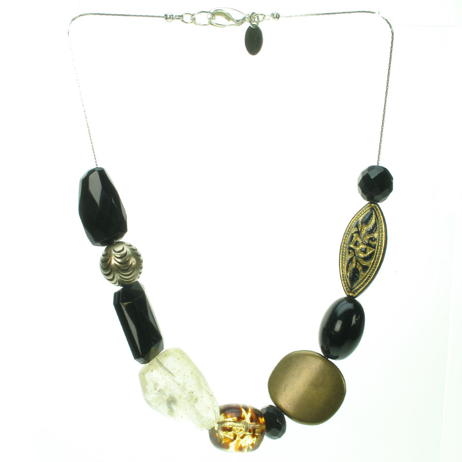 An eye catching mixture of black, bronze and tortoise necklace