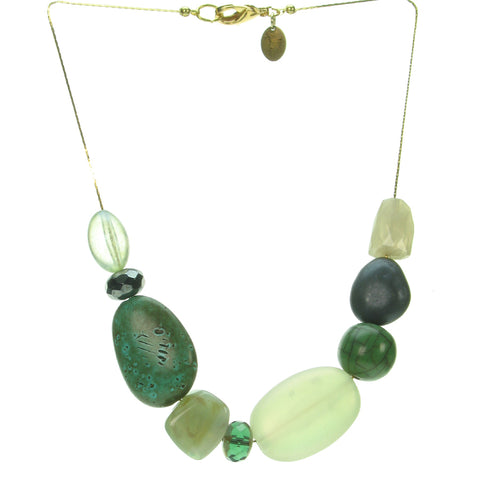 A subtle blend of forest coloured resin bead necklace