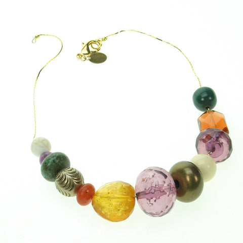 A vivid blend of gem coloured resin bead necklace