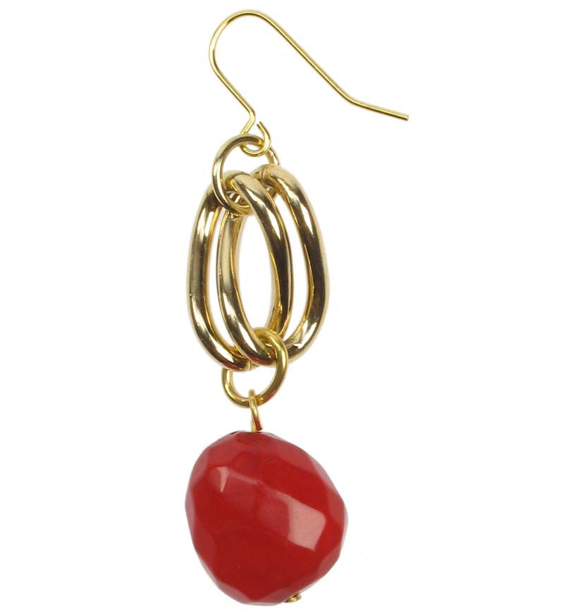Dark ruby drop earrings