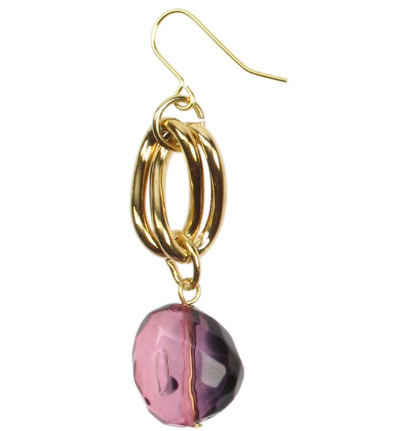 Drop earrings with smoked amethyst resin drops