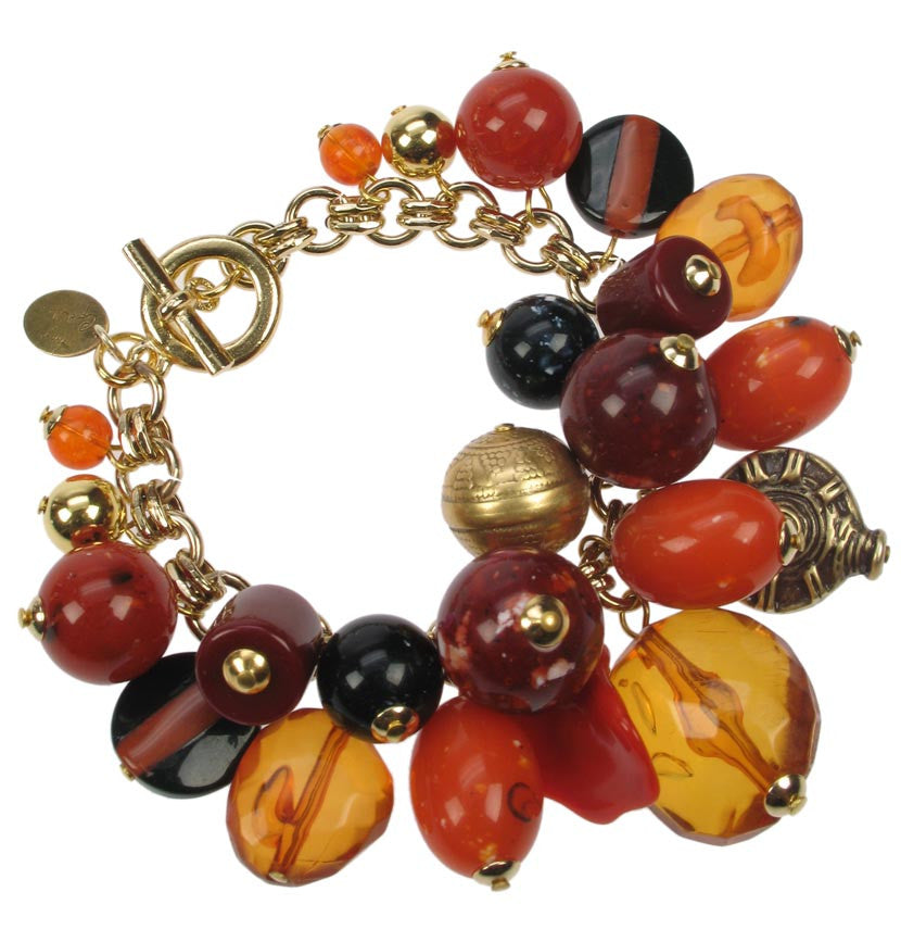 Gold plated and orange charm bracelet