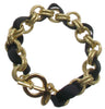 Chain bracelet with black grosgrain ribbon