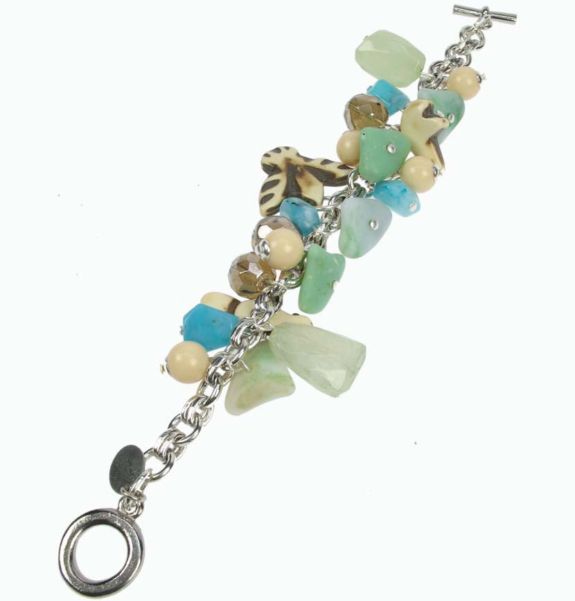 Turquoise and charm bracelet on silver plated chain