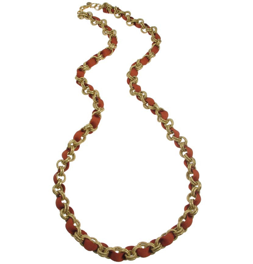 Chain necklace with coral grosgrain ribbon