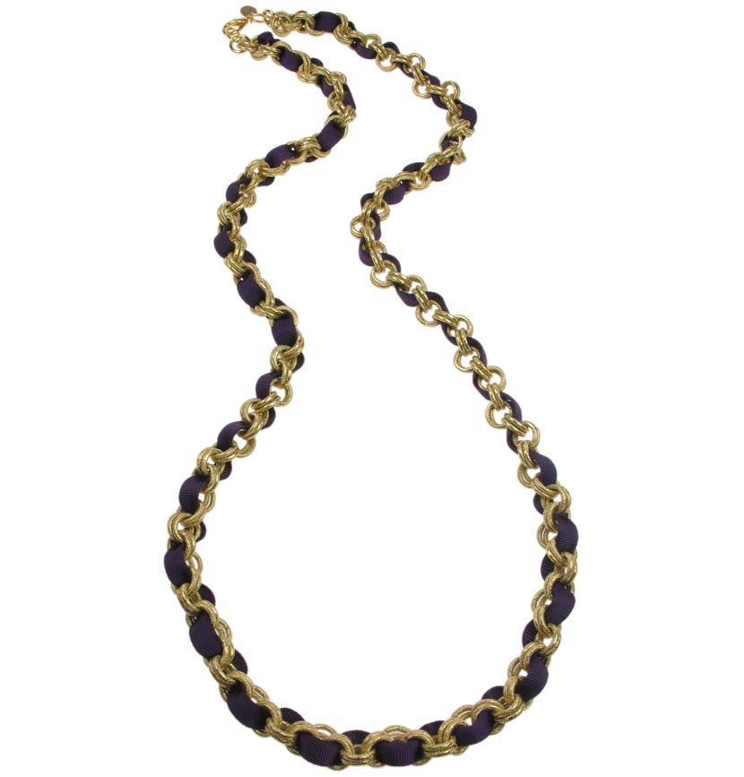 Long Chain necklace with plum grosgrain ribbon