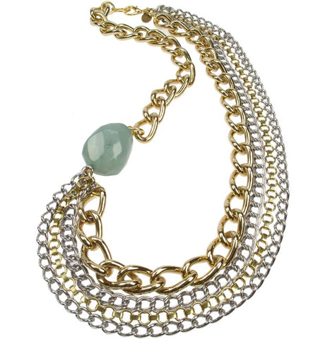 Multi Chain Necklace with aqua jade coloured bead