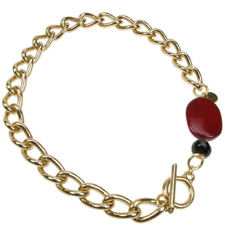Chunky Chain Gold plated necklace with claret bead
