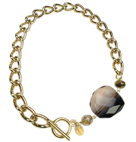 Chunky Chain Gold plated necklace with smoked brown bead