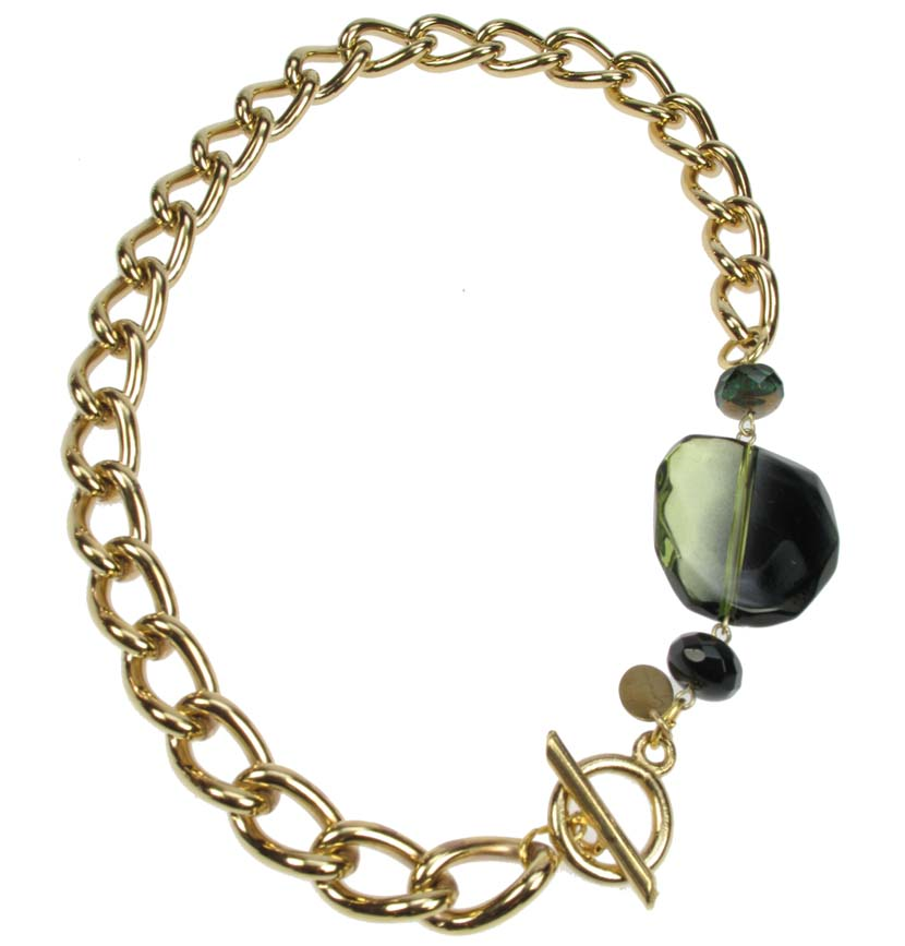 Chunky Chain Gold plated necklace with smoked green bead