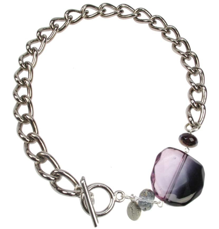 Chunky Chain Silver plated necklace with smoked amethyst bead