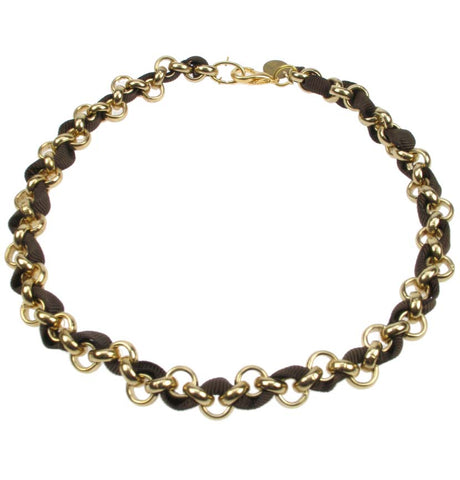 Gold plated chain and jet black necklace