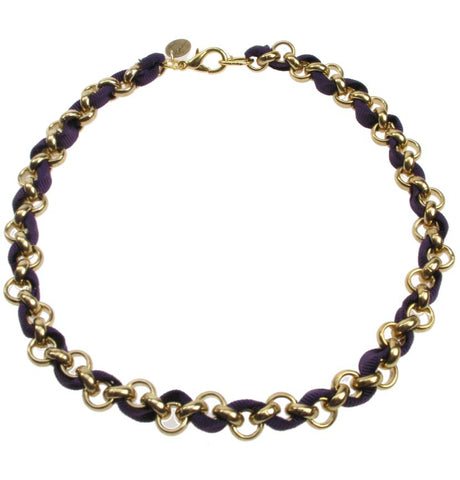 Gold plated chain and aubergine necklace
