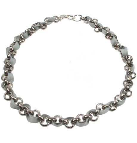 Silver plated chain and grey necklace